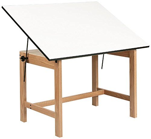 Alvin WOB42 Titan Solid Oak Office Table Natural Finish 31 inches x 42 inches x 30 inches by Alvin