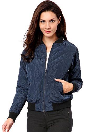 (Allegra K Women's Raglan Long Sleeves Quilted Zip Up Bomber Jacket Blue XS (US)