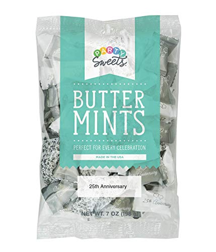 Party Sweets 25th Wedding Anniversary Premium Buttermints, Appx. 300 mints (Pack of 6 - 7 oz bags)