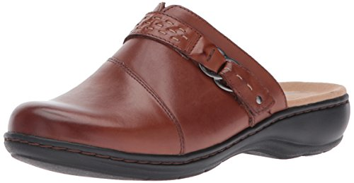 CLARKS Women's Leisa Sadie Mule, Dark Tan Leather, 9.5 M US