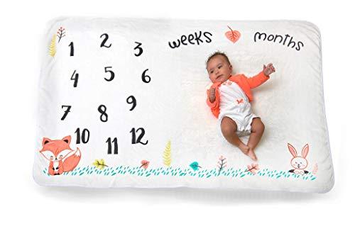 Baby Shower Boy Blocks (Large Premium Fleece Monthly Milestone Blanket for Baby + Infant Photography Prop for Boys & Girls - Unique Shower Gift - Baby & Mommy Milestone Cards + Tape Measure Prop Bonus - Woodland Animals)