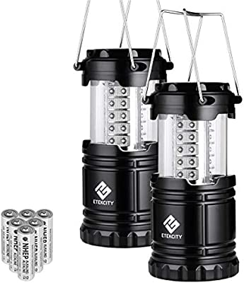 Etekcity 2 Pack Portable Led Camping Lantern Flashlights With 6 Aa Batteries Survival Kit For Emergency Hurricane Outage Black Collapsible Cl10 Buy Online At Best Price In Uae Amazon Ae