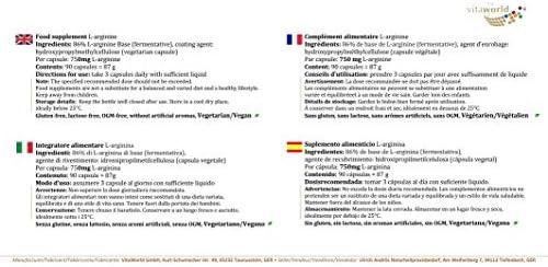 Pack de 3 L-Arginina 750mg 3 x 100 Cápsulas Vita World Farmacia Alemania - Aminoácidos Escenciales - Musculación: Amazon.es: Salud y cuidado personal