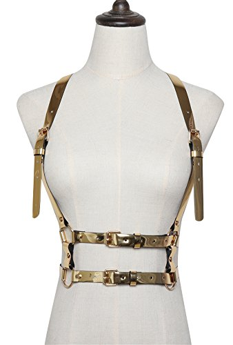 Ababalaya Fashion PU Leather Adjustable Body Chest Harness Fancy Belt for Mens Womens,Metallic Gold