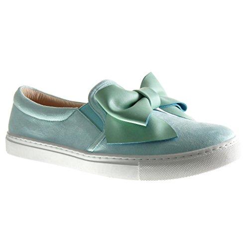 Angkorly - Scarpe da Moda Sneaker slip-on donna papillon Tacco tacco piatto 2 CM - Blu
