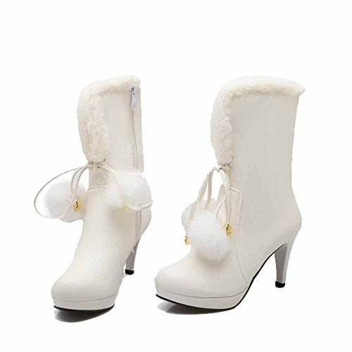 White Assorted Color Heels High Zipper Mid Women's Soft Material Top Allhqfashion Boots TOPZx