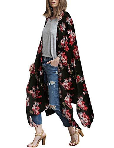 Women's Sheer Chiffon Blouse Loose Tops Long Kimono Floral Print Cardigan Black S