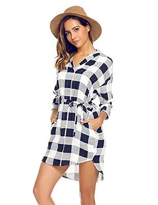 Beyove Women's Casual 3/4 Sleeve Belted Plaid Loose T Shirt Mini Dress