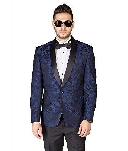 AZAR MAN Slim Fit 1 Button Shawl Satin Collar Floral Jacket Tuxedo Dinner Jacket Blazer Navy 38R]()