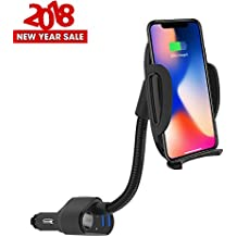Car Phone Mount Charger Holder, Vansky 3-In-1 Car Holder Gooseneck Cigarette Lighter Power with Dual USB 4.8A Charger for iPhone X 7 Plus 8 Plus 6 6S Plus Samsung Galaxy Google Nexus LG Huawei etc