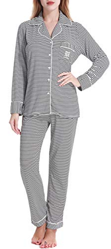 Womens Knit Pjs Long Sleeve Black Striped Pajama Set Sleepwear by Nora TWIPS(Black Striped,M)