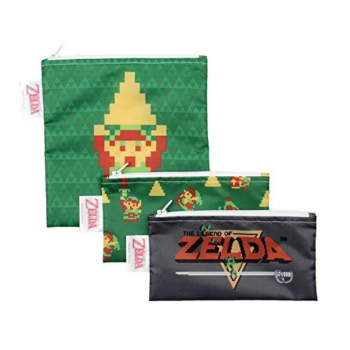 Bumkins Nintendo Zelda Sandwich Bags/Snack Bags, Reusable, Washable, Food Safe, BPA Free, 3-Pack