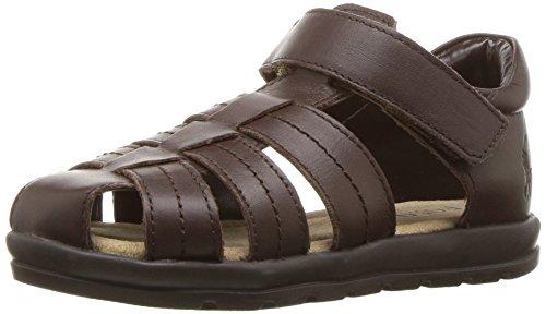 Polo Ralph Lauren Kids Boys' DONEVAN Sandal, Chocolate, 8 Medium US Toddler Boys Brown Leather Sandals