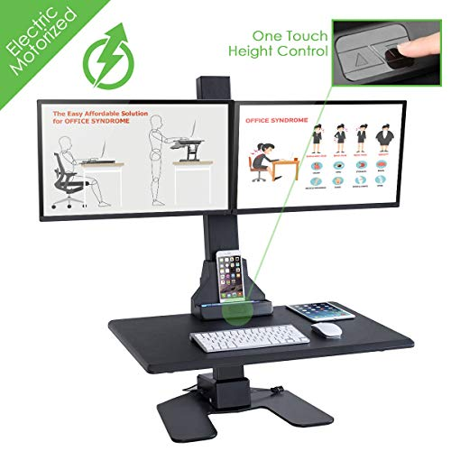 AdvanceUp Electric Ergonomic Standing Desk Converter Riser, Motorized Height Adjustable Stand Up Computer Station, 44lbs Capacity with Dual Swilvel Monitor Mount, fits Screens up to 32
