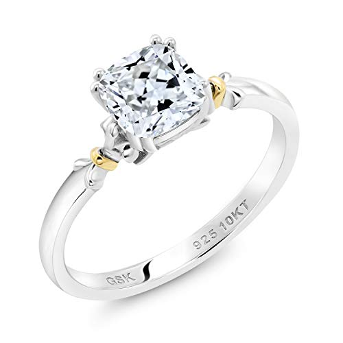 925 Silver and 10K Yellow Gold Women Engagement Ring Set with White Zirconia from Swarovski (Size 6)
