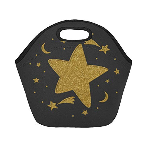 Insulated Neoprene Lunch Bag Star Relief Moon Large Size Reusable Thermal Thick Lunch Tote Bags For Lunch Boxes For Outdoors,work, Office, School