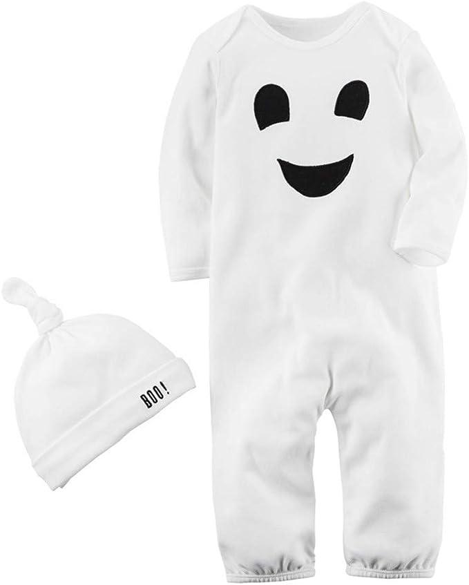 BBSMLIN Disfraz Halloween Fantasma Bebe Monos de de Manga Larga + ...