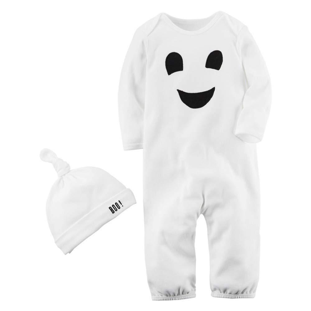 (6-24M) túnicas de Estampado de emoticones de Manga Larga de bebé de Halloween Mameluco + Sombrero Traje de Dos Piezas