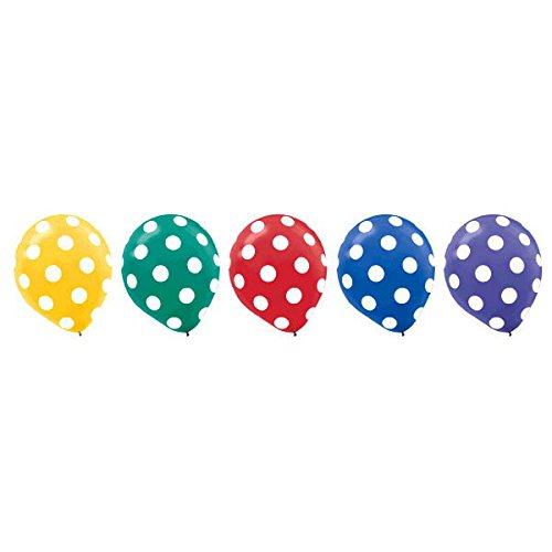 Amscan Polka Dots All Over Assorted Colors Printed Balloons Latex 12