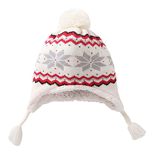 Snowflake Earflap Knit Hat - Sun Kea Kids Winter Warm Earflap Beanie Hat Snowflake Pattern Velvet Knitted Hat