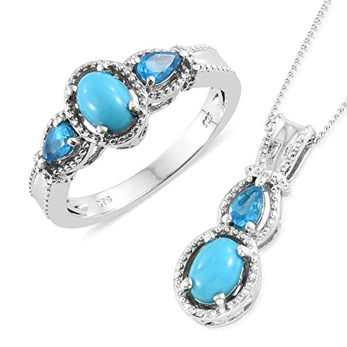 Silver Platinum Plated Sleeping Beauty Turquoise, Neon Apatite Ring Size 7 Pendant Set with Chain (Apatite Pendant Set)
