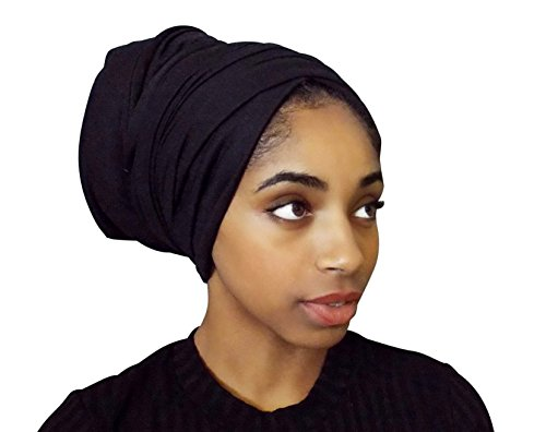 Rayna Josephine Stretch Head Wrap-Solid Color Jersey Knit Headwrap Turban Hair Scarf Tie by (Black (Tie Hair Wrap)