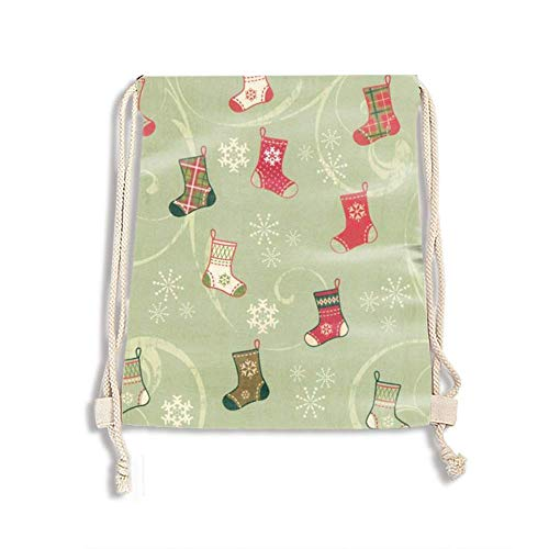 Drawstring Bags, Gym Sports Travel Garments Organizing Storage, Assorted Colors Bags (Christmas Socks)
