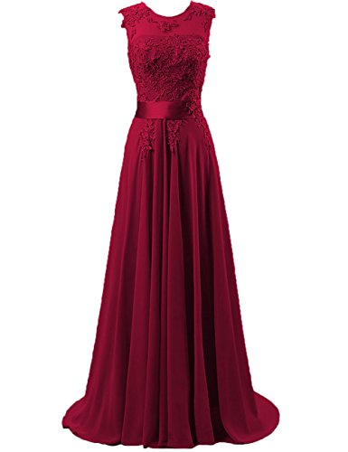 Cdress Chiffon Long Prom Dresses Lace Applique Bridesmaid Dress Evening Formal Gowns Burgundy US - Ups Delivery Times Australia