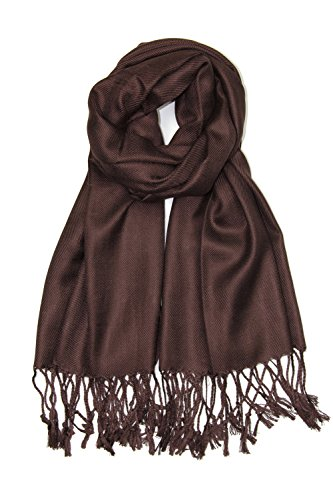 Achillea Large Soft Silky Pashmina Shawl Wrap Scarf in Solid Colors (Dark Brown)