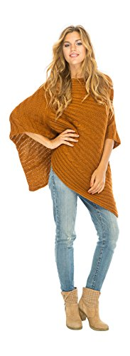 Back From Bali Knit Cable Poncho Chestnut Womens Sweater Cape Boho Soft Casual