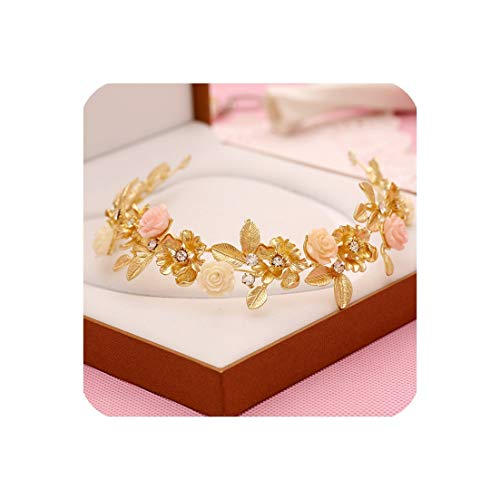 Bridal Headdress Hair Accessories Retro Matte Gold Porcelain Flower Alloy Rhinestone Bridal Accessories Bridal Jewelry
