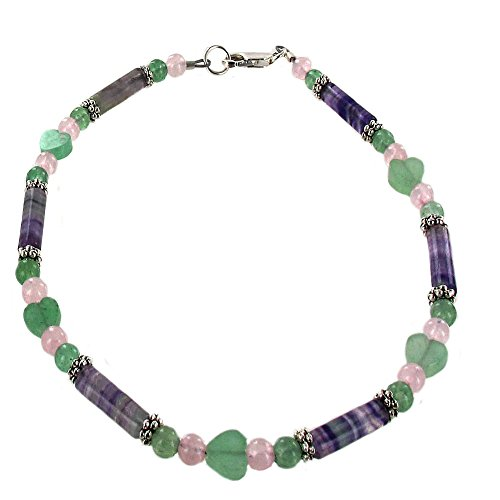 Fluorite Green Bracelet - Timeless-Treasures Womens Fluorite, Aventurine, Rose Quartz & Sterling Ladies Beaded Gemstone Anklet with Daisies - 10