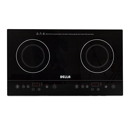 DELLA 048-GM-48249 1800W Dual Induction Cooktop Counter Top Electric Burner Stove, Black, Small by DELLA