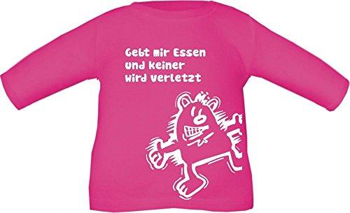 Baby / Kinder T-Shirt langarm mit Druck Gebt mir ESSEN und keiner wird verletzt (Farbe fuchsia) (Größe 6/7 - 122/128)