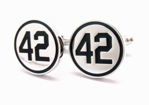 42 Silver with Black Number Forty Two Honoring Baseball's Barrier Breaker Cufflinks Cuffs ()