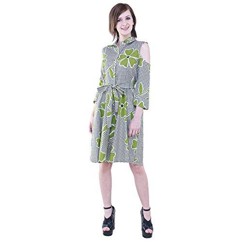 8efe3089864 Floral On White   Black Checks Cold Shoulder Arms Womens Dress By Twenty  Whites