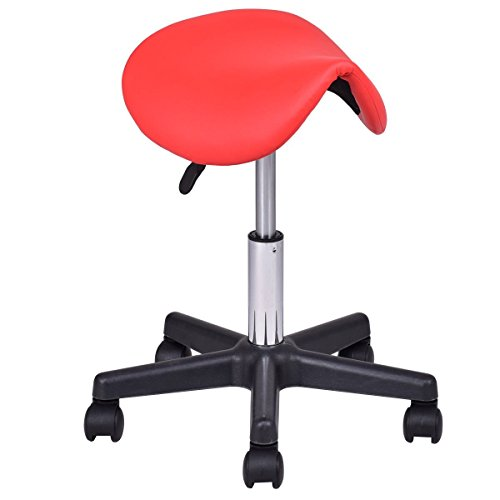Beauty Salon Stool Rolling Saddle Chair Adjustable Massage Chair Tattoo Facial Spa Backless Swiveling Chair (Red)