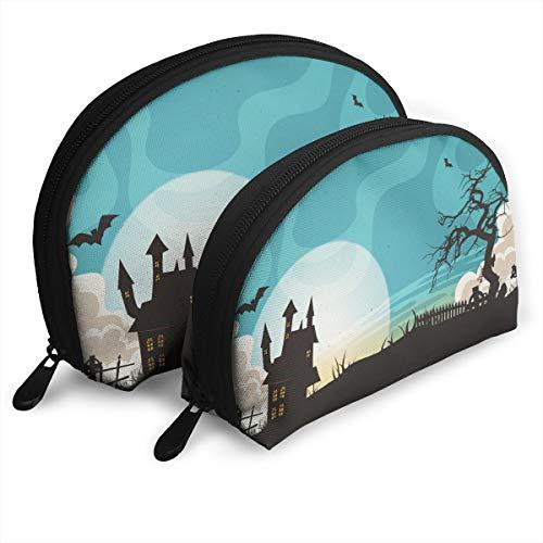 halloween landscape background Classic cosmetics travel goods storage bag large capacity Portable (2 packs) -