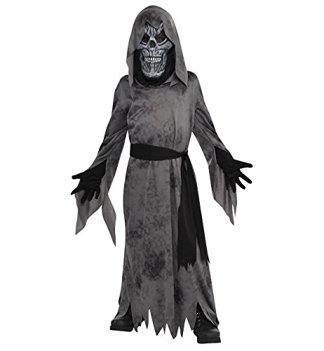 Grey Skeleton Reaper Robe For Kids (Ghastly Ghoul Child Costume - X-Large)