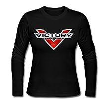 Women's Victory Motorcycle Logo 100% Cotton Long Sleeve Tee Shirt