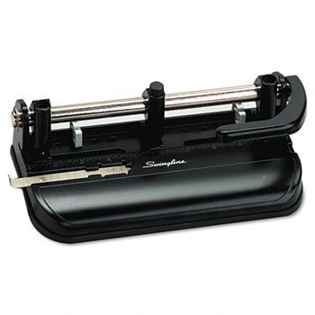 Swingline® Lever Handle Heavy-Duty Two- to Three-Hole Punch PUNCH,3HOLE,MODEL350,BK (Pack of2) by Swingline