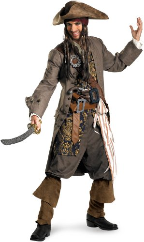 Disguise Men's Disney Pirates Of The Caribbean Captain Jack Sparrow Theatrical Costume, Brown/Blue White/Gold, (Disney Couples Costume)