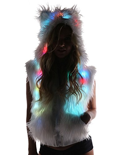 iHeartRaves Light Up LED Polar Bear Hood Rave Fur Vest (Medium)