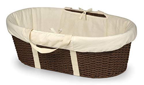 Badger Basket Wicker-Look Woven Baby Moses Basket with Bedding, Sheet, and Pad, Espresso/Ecru ()