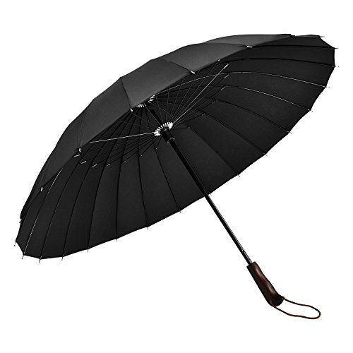 MAXZOLA Golf Umbrella 24 Ribs Windproof Umbrella Reinforced Ribs 60 MPH Windproof CanopyCool and luxury designed wood HandleStrong Enough for All Fierce Wind and Heavy Rain Man's Best Gift