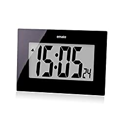 TENCO 7.5 inch Large Digital Black Wall Clocks with Big Numbers,Modern Battery Operated Clocks Non Ticking for Bedroom Living Room Kitchen Decorative
