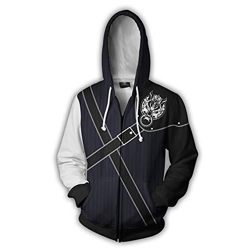 Wsysnl Final Fantasy Cloud Hegemony Cosplay Unisex Adult 3D Style Zipper Hooded Sweatshirt -