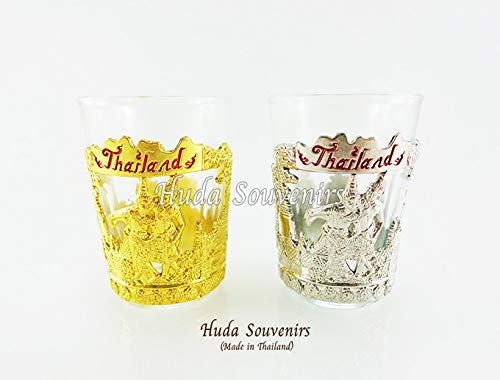 Set of 2 - Whiskey Glasses, Shot Glasses,Unique style,Glass Liquor and Bourbon Tumblers, THAILAND gift and souvenir ...]()