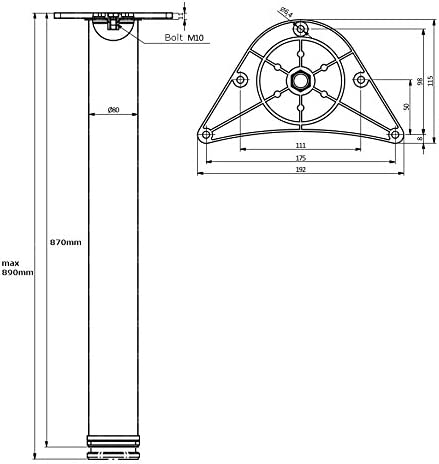 1 x 870mm Ajustable Pata De Mesa Pie De Mueble Cromo /ø80mm