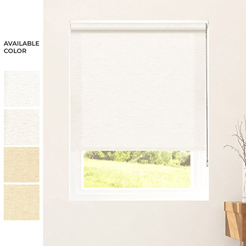 CHICOLOGY Custom-Made Corded Roller Shade,No Valance,Inside Mount Right Chain,Linen Light Natural 28″ WX96 H